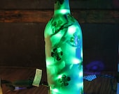 Beautiful Sandblasted Luck of the Irish 4 leaf Clover LED lighted bottle