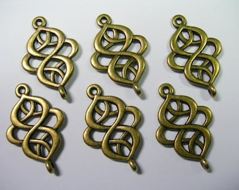 Antique Bronze swirls drops, loops, connectors, links, 6 - 28mm