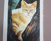 Calico Cat Watercolor print 5 x 7 note card watercolorsNmore greeting card paper goods