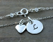 Personalized Necklace, Sterling Silver With a Heart, Personalized Jewelry