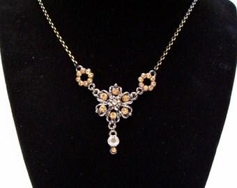 Yellow Rhinestone Necklace, Jewelry, Pendant,