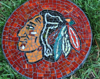 Hockey team stained glass mosaic garden stepping stone