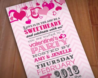 SALE!!! VALENTINE'S PARTY Printable Invitation with Pink Hearts