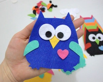 54 Pieces, 6 Sets Die Cut Felt Owls For Easter, Spring, Christmas Themes DIY Kits