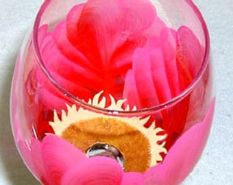 Wine Glass Pink and Red Flower Hand Painted