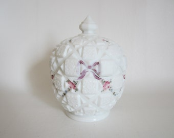 Vintage Westmoreland Milkglass Covered Candy Dish  Handpainted Roses and Bows