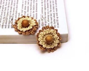 Rustic Beige Crochet Earrings / Lace Earrings / Made in Israel - FREE Shipping