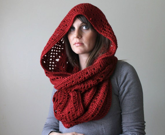 Oversized Crocheted Snood Cowl - The Olivetti Snood in Red - Made to Order Circle Scarf