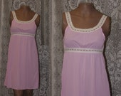 Vintage Prarie Boho short mini nightgown dress Scoop neckline floral trim By STARDUST Made un the USA 0083