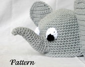 Baby toddler elephant hat PDF Crochet PATTERN 6-36 months beanie infant animal head covering costume accessory photography prop