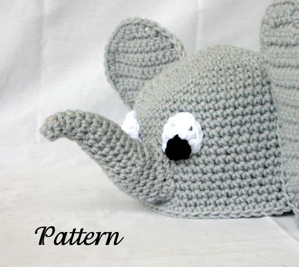 Crochet Pattern For Baby Elephant Hat : Baby toddler elephant hat PDF Crochet PATTERN 6-36 months