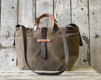 Crossbody Bag Truffle, Waxed Canvas Tote Bag, Waxed Canvas Diaper Bag, Waxed Canvas Handbag, Gift for Him, Gift for Women, Peg and Awl TT16