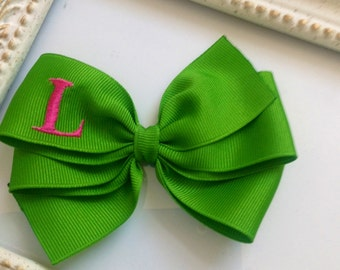Apple Green Bow with Hot Pink Initial by Cheryl's Bowtique