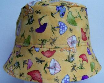 BUCKET HAT, Sun Hat, Mushroom Hat, Camp Hat, Toddler Summer Hat, Handmade Cotton Sun Hat, Cotton Bucket Hat, Reversible Sun Hat