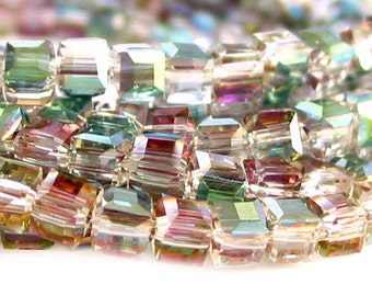 "15"" 4mm 6mm 8mm 10mm 12mm 13mm Sahara Green AB half coat designer crystal cube 3D Beads faceted glass - PICK size"