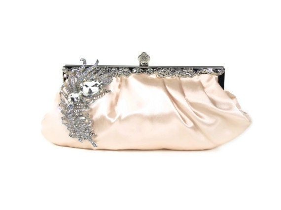 Apricot Satin Bridal Clutch with Crystal Peacock Feather Brooch, Vintage Style Bridal Clutch Purse