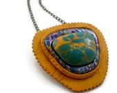 Polymer clay pendant necklace gold and turquoise