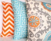 Orange Aqua Pillows, Decorative Throw Pillows, Cushion Covers Aqua Orange Grey on Natural Chevron Greek Key Combo Set of Three Various Sizes
