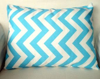 Aqua Chevron Throw Pillow Cover, Cushion, Lumbar Aqua White Chevron Zig Zag Girly Blue, Pillow Cover, Lumbar Cushion 12 x 16 or 12 x 18