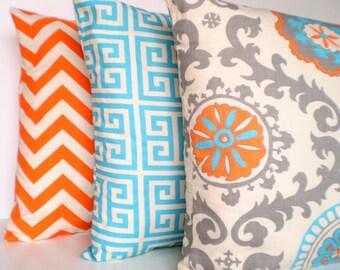 Orange Aqua Throw Pillow Covers, Cushions, Aqua Gray Orange Pillows on Natural, Chevron Greek Key Suzani, Grey Set of Three Various Sizes