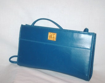 Vintage 1980s Blue Clutch with Strap