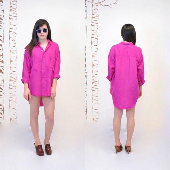 SALE - Silk Shirt  //  Oversized Silk Blouse  //  FUSCHIA BOMB