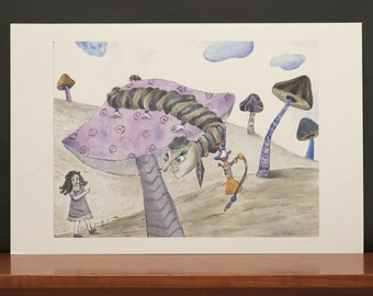 Alice-and-The-Caterpillar  illustration print