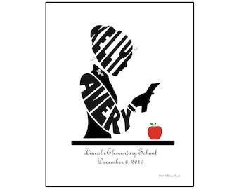 Personalized Female Teacher Print, Unframed 8x10 Teacher Art, Teacher Appreciation Gift