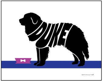 Personalized Great Pyrenees Silhouette Print, Custom Dog Breed Art, Dog Memorial Gift