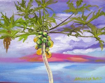 Papaya art original plein air painting - original oil - papaya tree painting - kitchen decor - island ocean