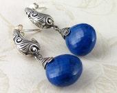 Lapis, sterling silver earrings-AAA gemstone post earrings-OOAK