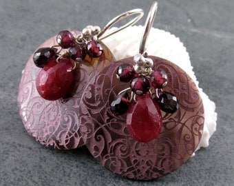 Ruby earrings, handmade etched shell and garnet earrings in sterling silver-OOAK