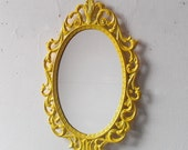 Yellow Princess Mirror in Vintage Metal Frame, Ornate Oval 10 by 7 Inch Framed Mirror, Yellow Home Decorating Ideas