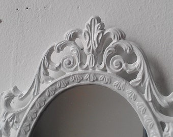 Fairy Princess Mirror in Tiny Bright White Vintage Frame
