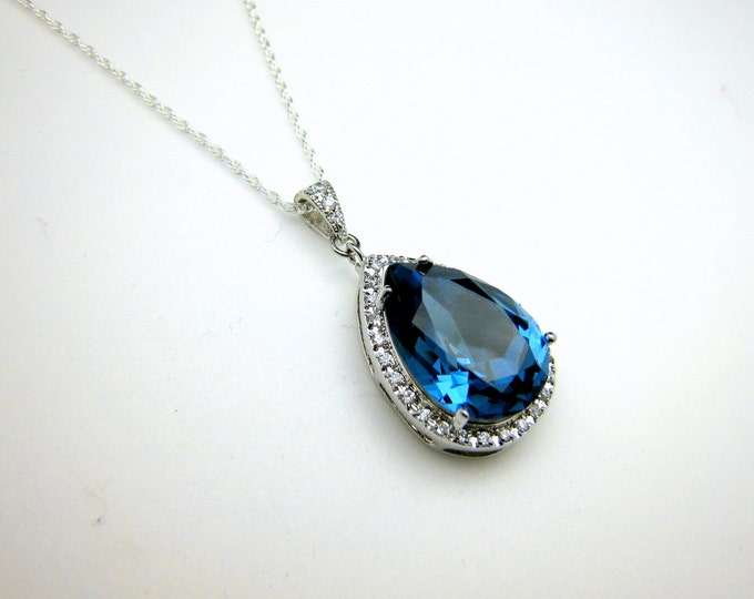 wedding jewelry bridal bridesmaid necklace prom gift pageant sterling silver necklace navy sapphire denim blue teardrop swarovski pendant