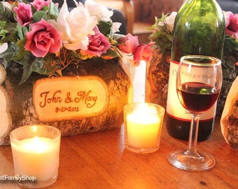 Log Flower Vase Rustic Wedding Table Centerpiece Custom Names/Date Personalization Decoration