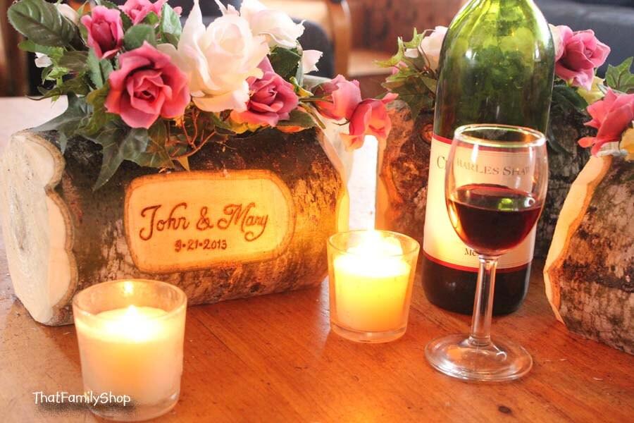 Log flower vase rustic wedding table centerpiece by