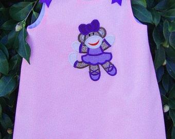 Ballerina sock monkey applique pink gingham aline dress