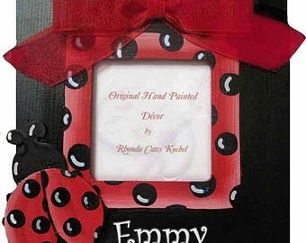 Hand Painted Ladybug Picture Frame