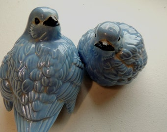vintage 70s, 1974-79, set of 2 fat chubby baby blue birds figurines, hand painted, ceramic