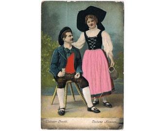 Vintage Traditional Embossed Costume Postcard - Alsace - France - Europe