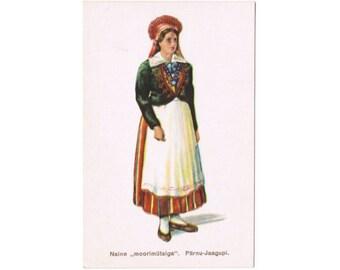 3 Vintage Costume Postcards - Estonia - Europe