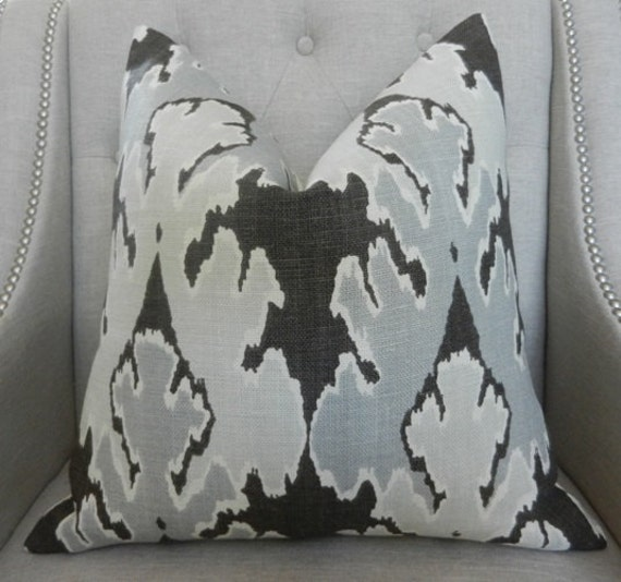 """Decorative Designer Pillow Cover - Kelly Wearstler for Lee Jofa - 18""""X18"""" -  Bengal bazaar in Graphite - Pattern on the front"""
