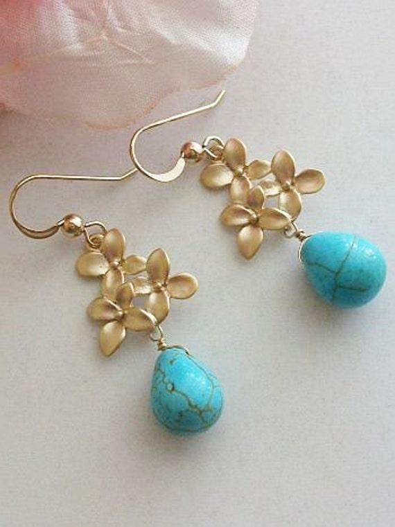 Turquoise earrings, blue earrings, Drop Dangle Earrings, Gifts for Her, Mom, Sister, Christmas