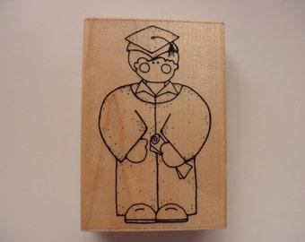 graduation rubber stamp mounted on wood - JRL Designs