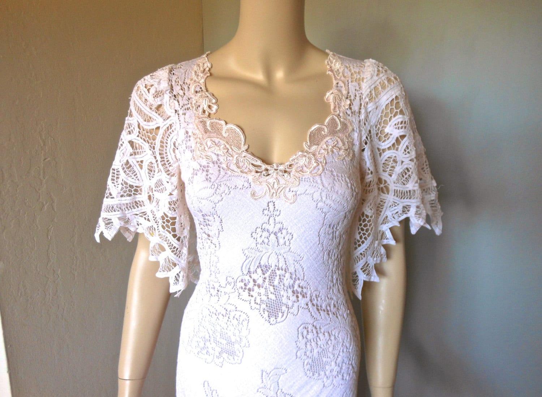Blush LACE Crochet Wedding Dress Scalloped Flutter Sleeve