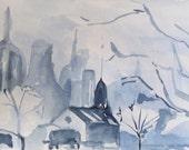 Blue Scape city landscape monotone 5x8 inches Original watercolor painting