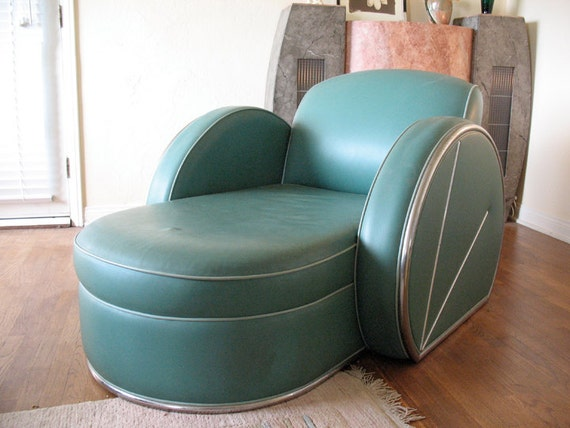 Items similar to spectacular art deco green leather and for Art deco style chaise lounge