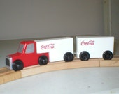 Coca-Cola Toy Big Rig Truck with Tandem Trailers for use with wooden toy train tracks