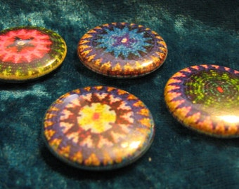 Beaded Rosettes Native American Button Set